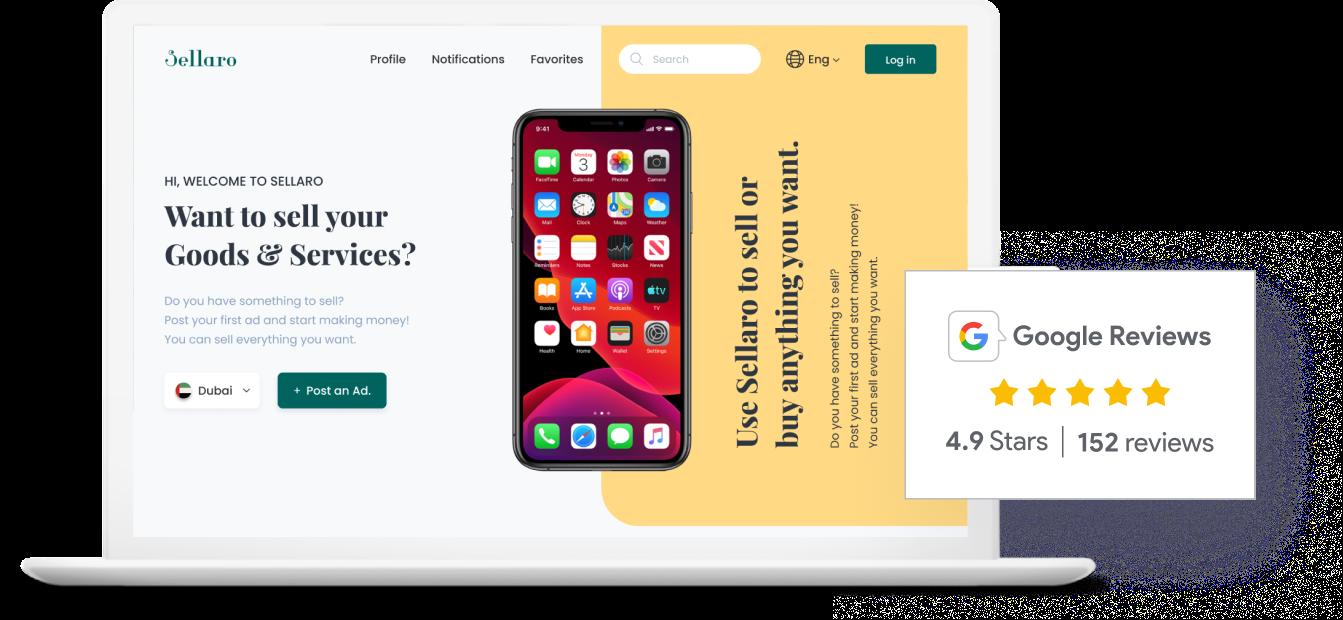 Website with Google review widget integration