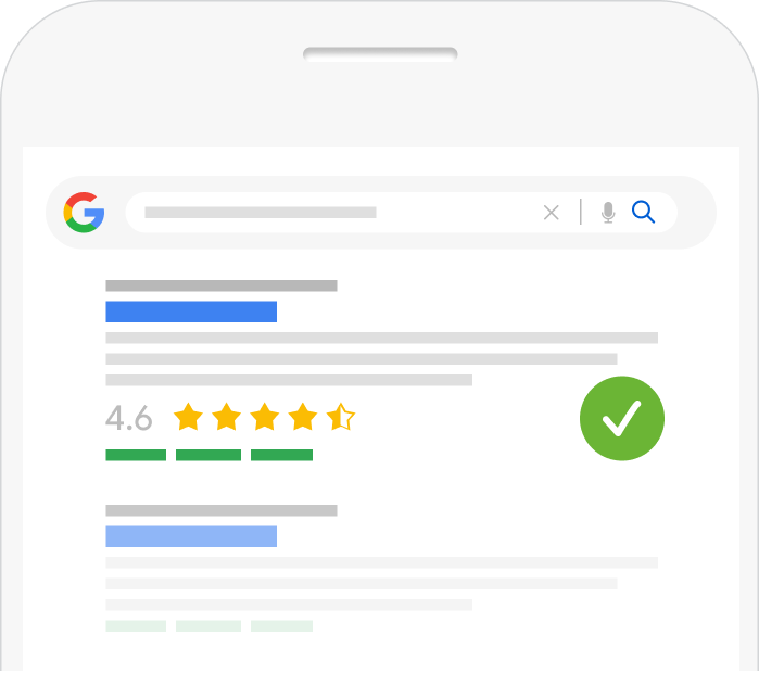 Google search result with review rich snippets included
